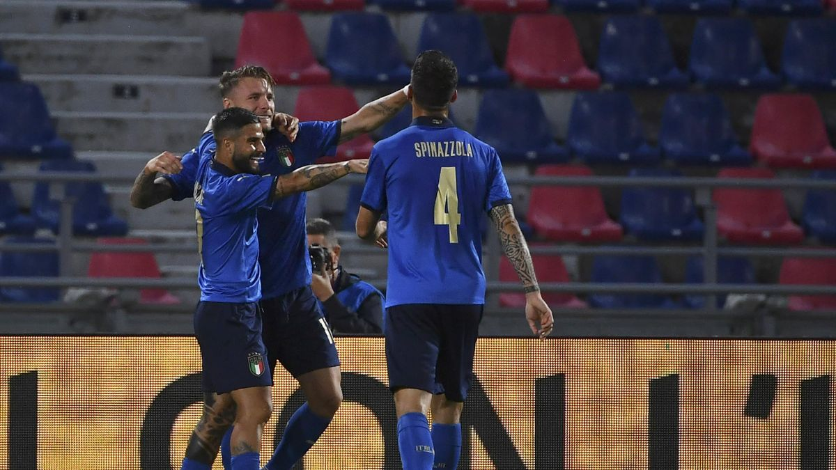 BOLOGNA, ITALY, JUNE 04: Ciro Immobile of Italy (C) celebrates with his teammates Lorenzo Insigne (L) and Leonardo Spinazzola (R) after scoring during a friendly match between Italy and Czech Republic at the Renato Dall'Ara stadium in Bologna, Italy, on J