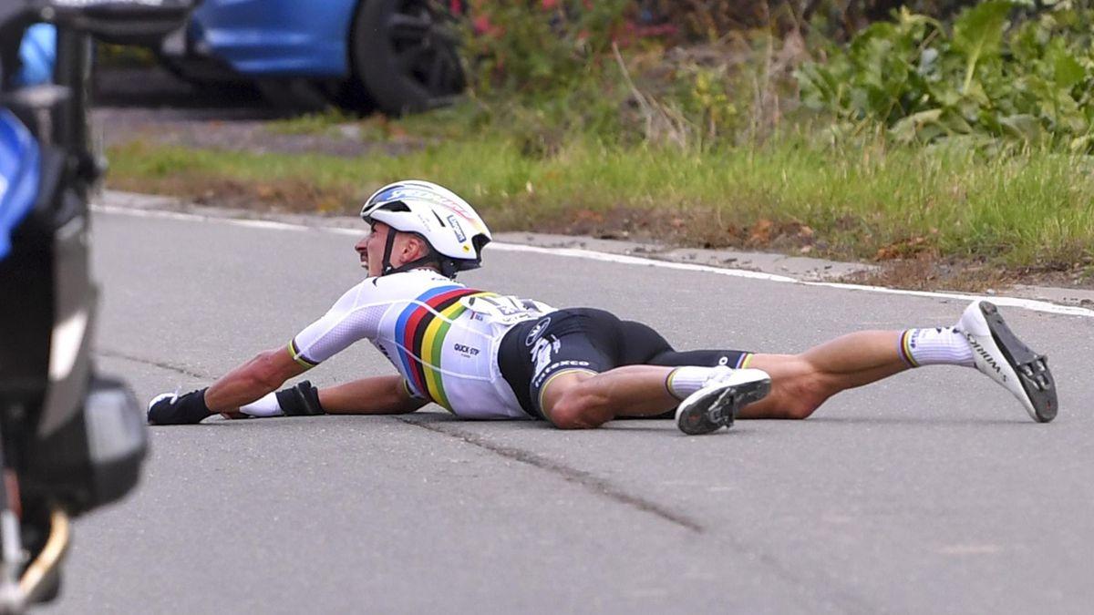 Weltmeister Julian Alaphilippe nach seinem Sturz