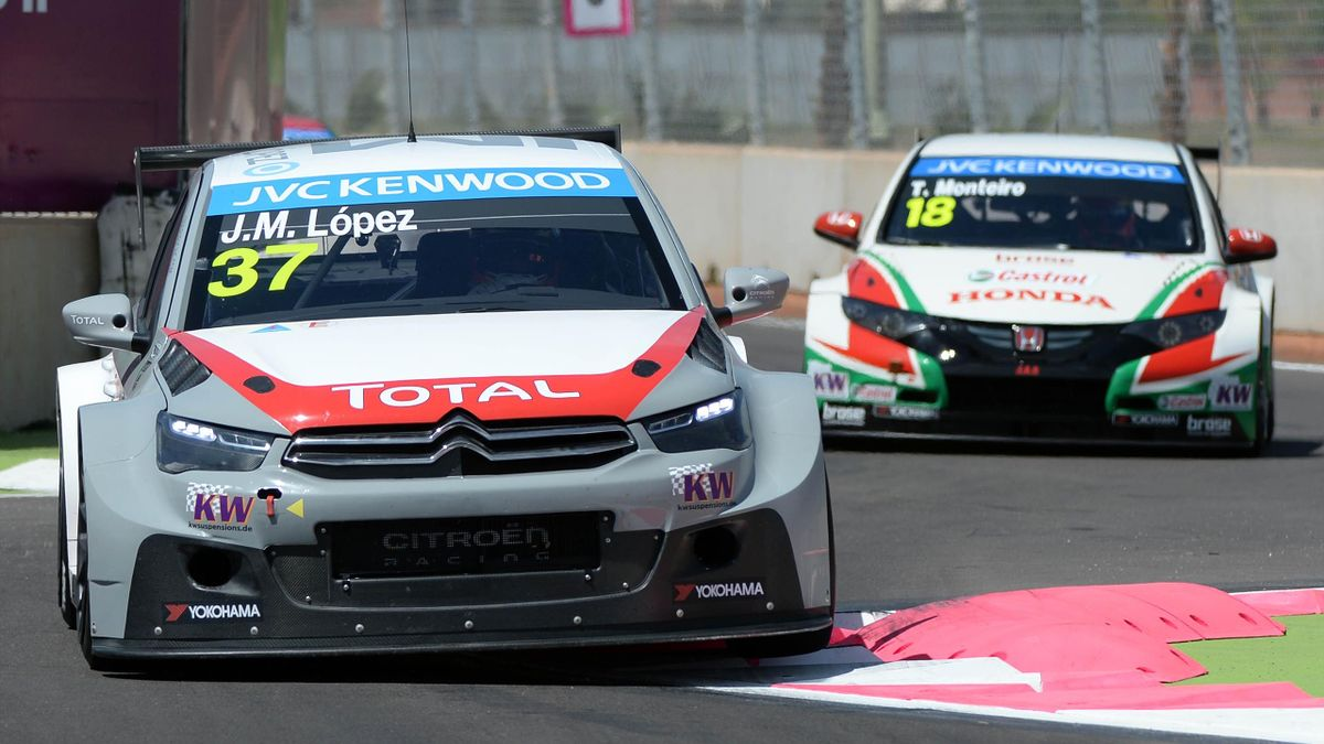 Jose Maria Lopez (Citroen Racing C-Elysee) steers his car during the qualifying opening round of the FIA World Touring Car Championship (WTCC) on April 12, 2014 at the Moulay el-Hassan circuit in the southern Agdal district of Marrakesh, Morocco (Getty)