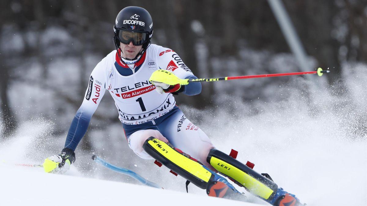Clément Noël lors du slalom à Chamonix le 8 février 2020