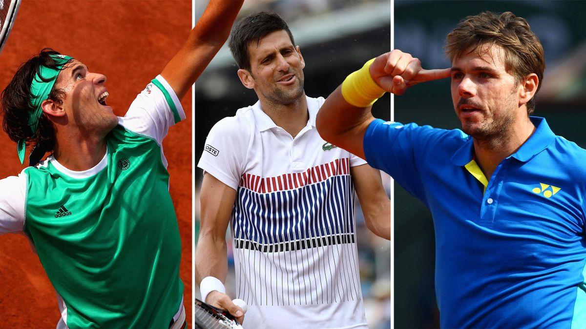 Thiem, Djokovic und Wawrinka (v.l.n.r.)