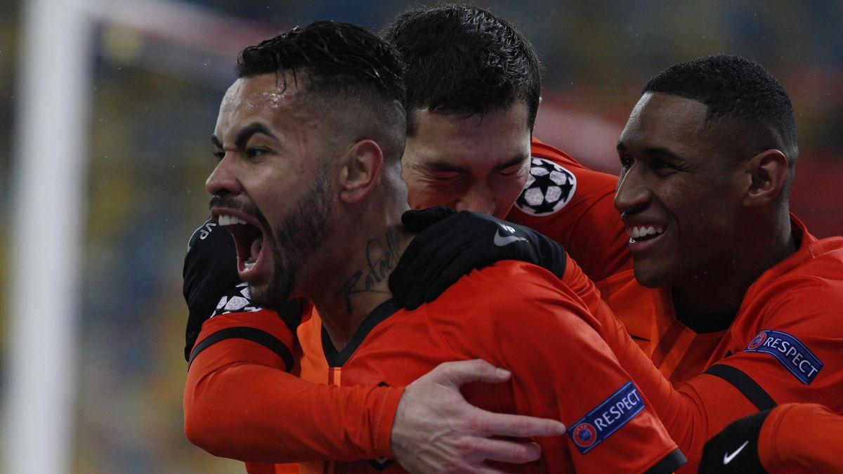 Shakhtar Donetsk celebrate scoring against Real Madrid