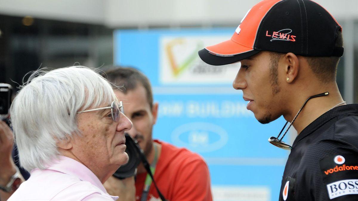 Ex-F1-Boss Bernie Ecclestone (links) und Lewis Hamilton sind sich uneins bei der Rassismus-Debatte in der Formel 1