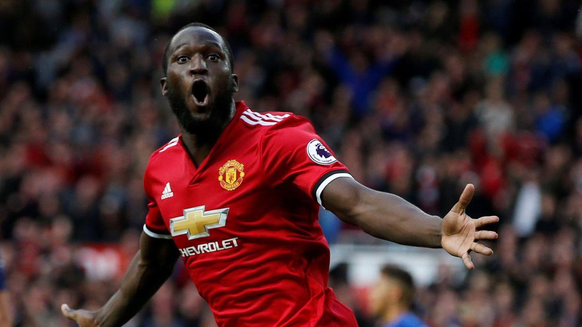 Manchester United's Romelu Lukaku celebrates scoring their third goal