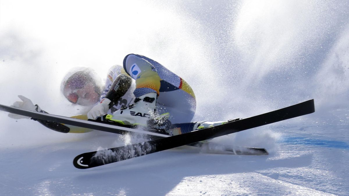 Kajsa Vickhoff Lie crashes out during the Audi FIS Alpine Ski World Cup Women's Super Giant Slalom, Val di Fassa, Italy, February 28, 2021