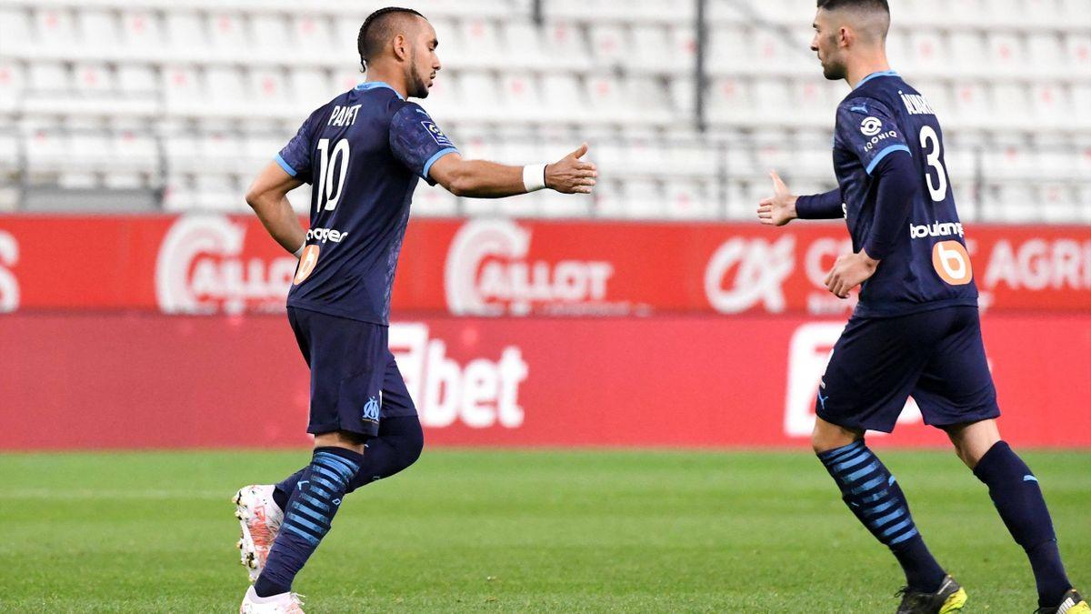 Dimitri Payet et Alvaro après l'égalisation de Marseille contre Reims