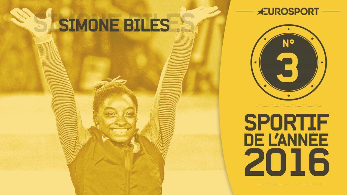 Simone Biles, 3e des athlètes mondiaux de 2016