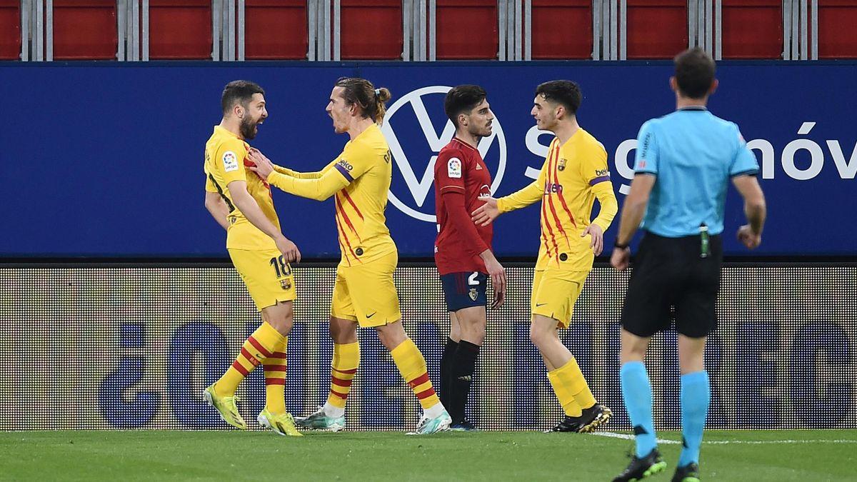 La joie de Jordi Alba et Antoine Griezmann face à Osasuna