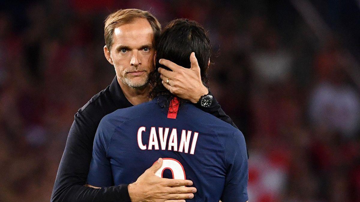 Thomas Tuchel et Edinson Cavani (PSG), lors du match de L1 face à Nîmes - 11 août 2019