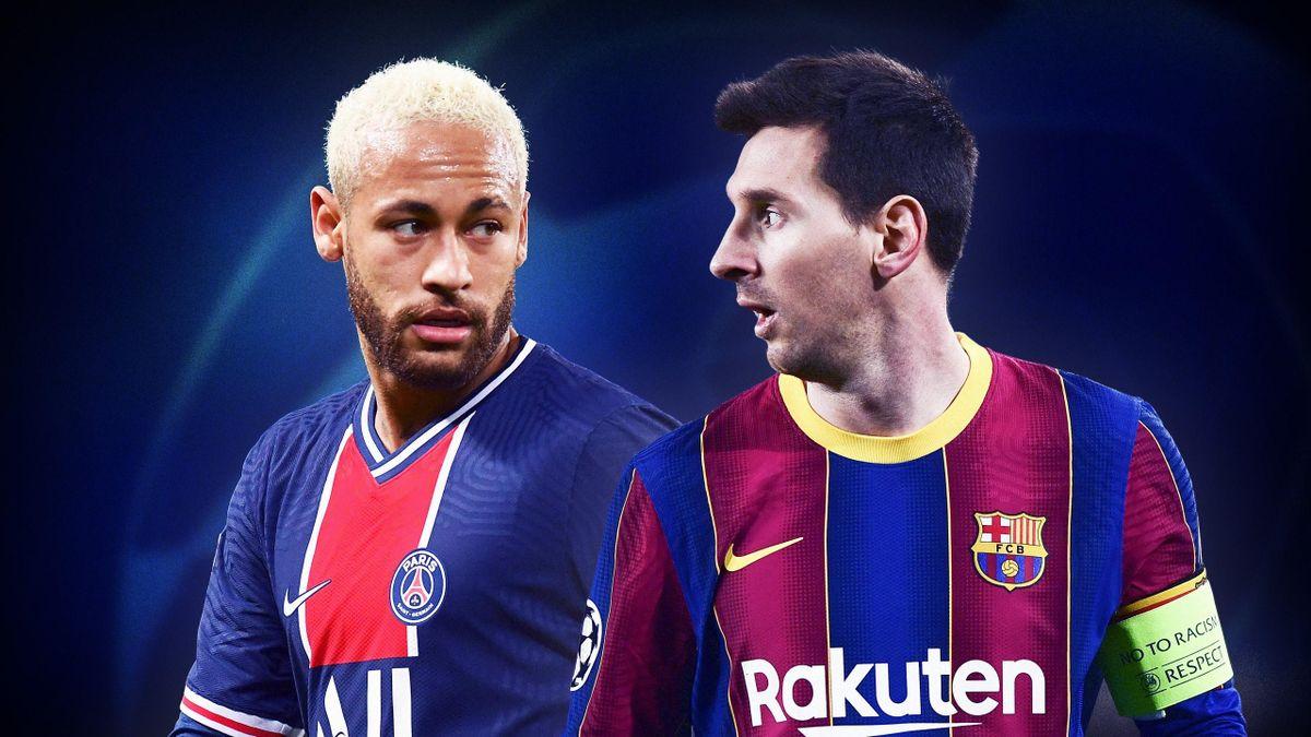 Neymar (PSG) et Messi (FC Barcelone)