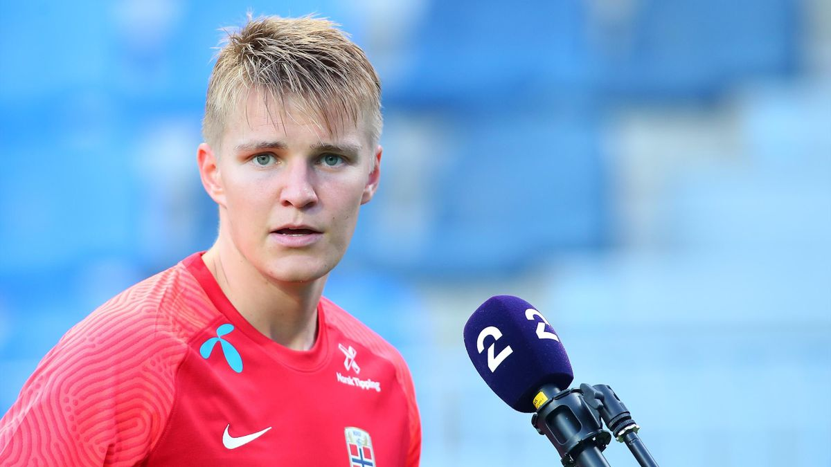 Martin Odegaard of Norway looks on during an International Friendly Match between Norway and Greece at Estadio La Rosaleda