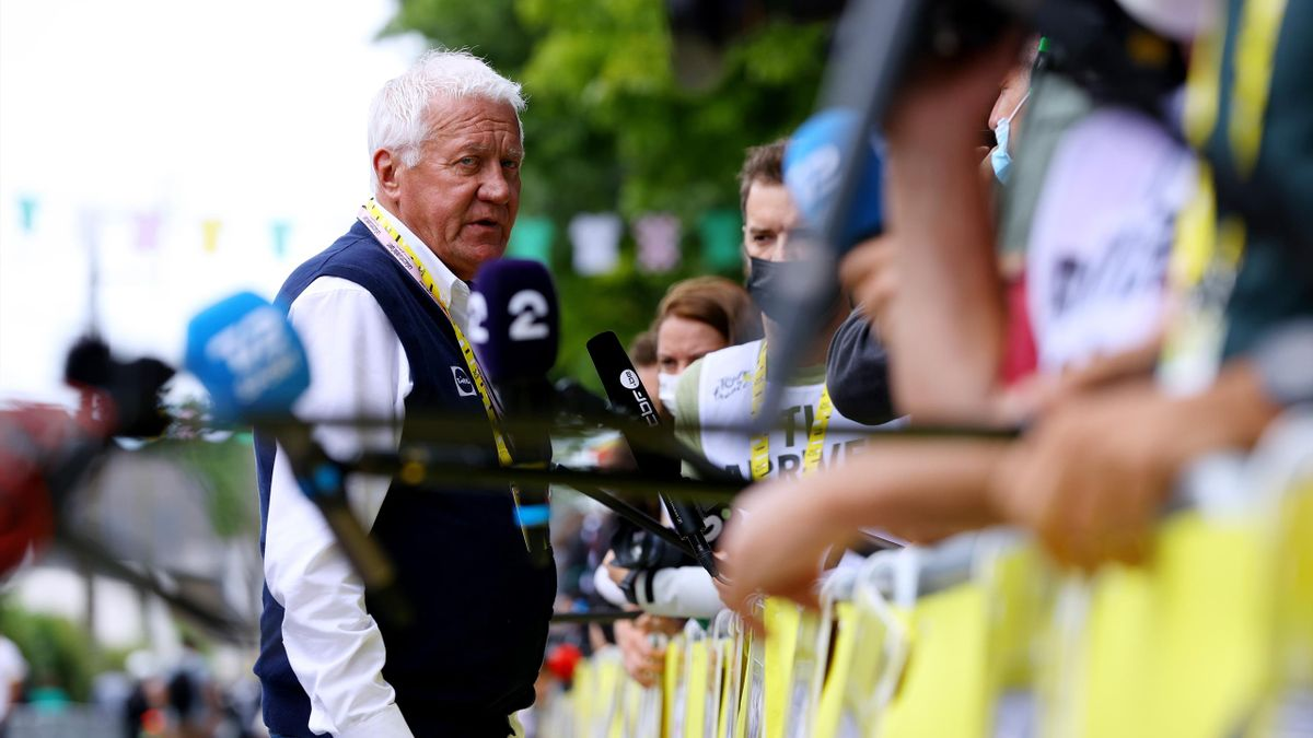 Patrick Lefevere of Belgium Team manager of Deceuninck - Quick-Step at arrival during the 108th Tour de France 2021, Stage 4 a 150,4km stage from Redon to Fougères