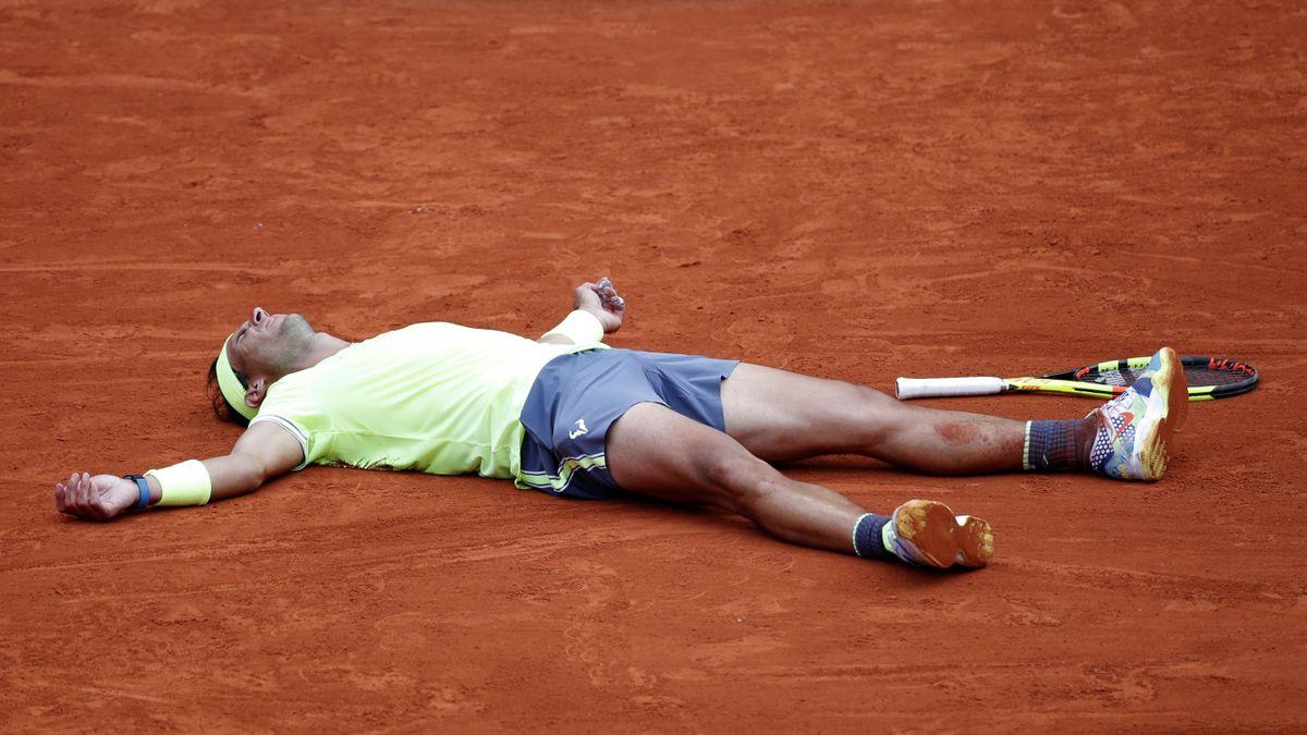Rafa Nadal celebrates winning his 12th French Open crown