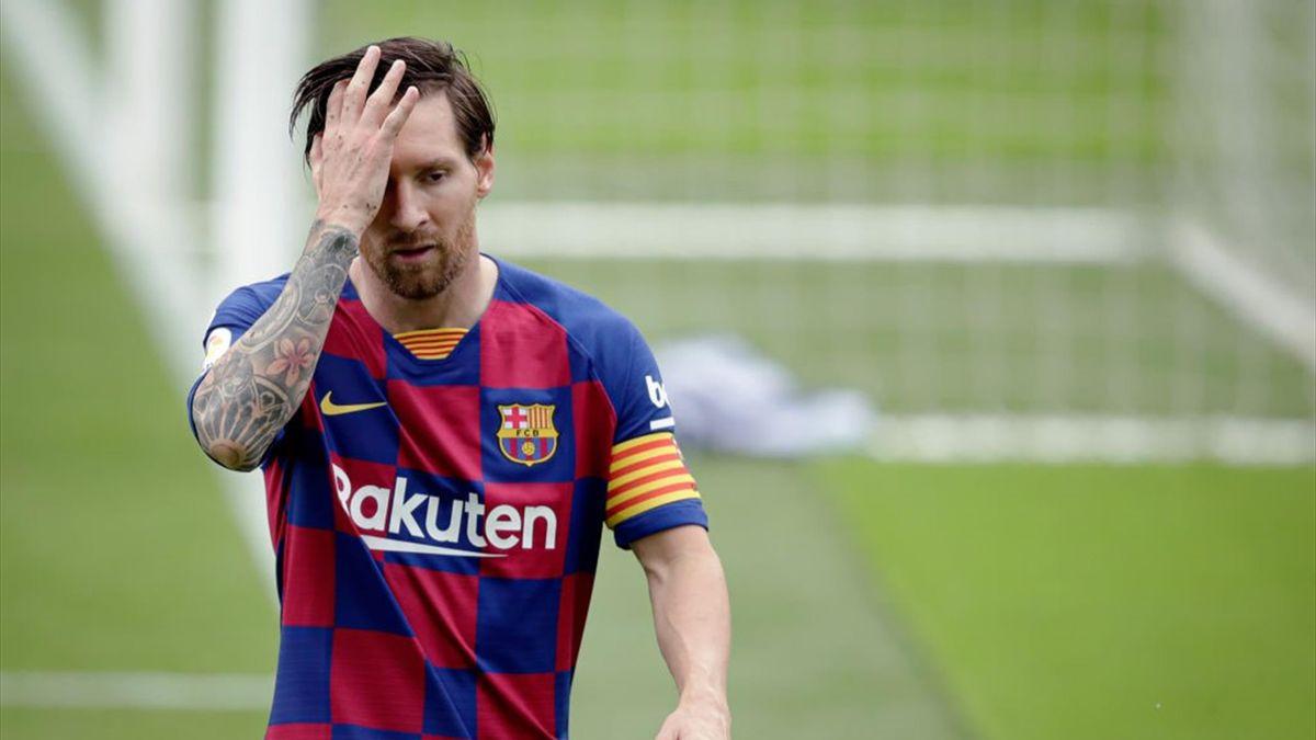 Lionel Messi of FC Barcelona during the La Liga Santander match between Celta de Vigo v FC Barcelona at the Estadio de Balaidos on June 27, 2020