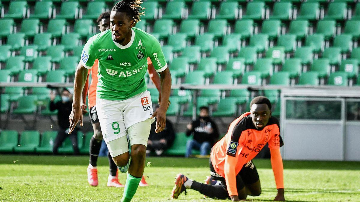 Charles Abi (AS Saint-Etienne) après son but face à Reims en Ligue 1