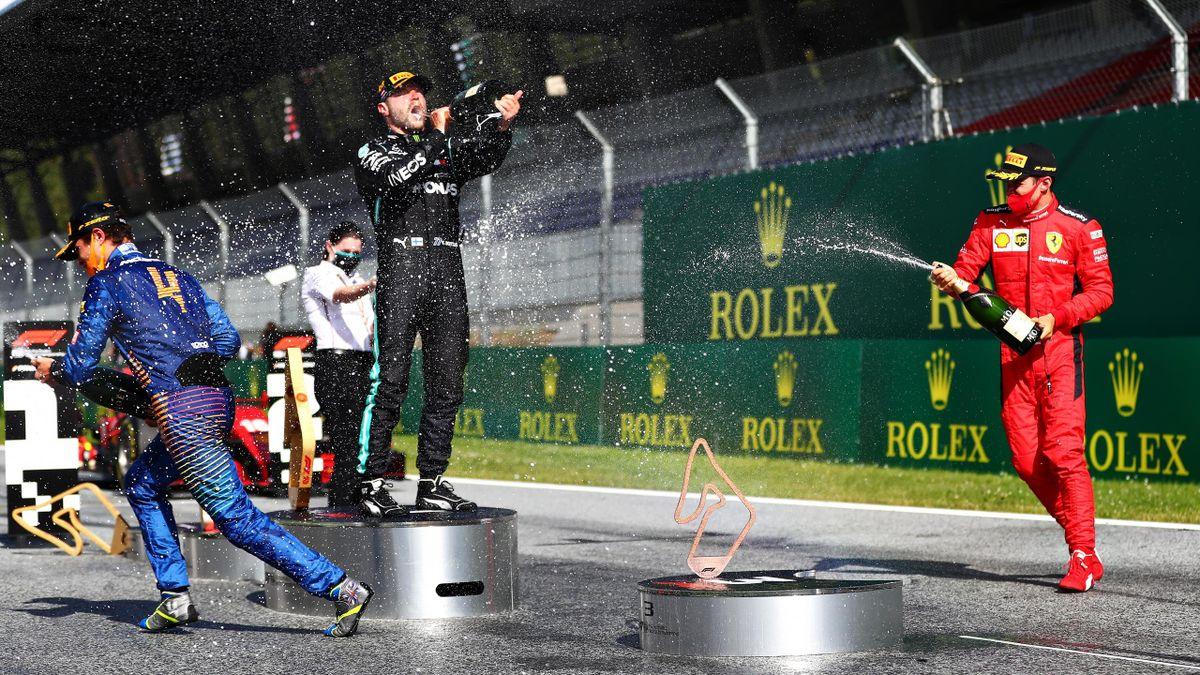 Valtteri Bottas, Lando Norris e Charles Leclerc festeggiano sul podio, GP d'Austria 2020, Getty Images
