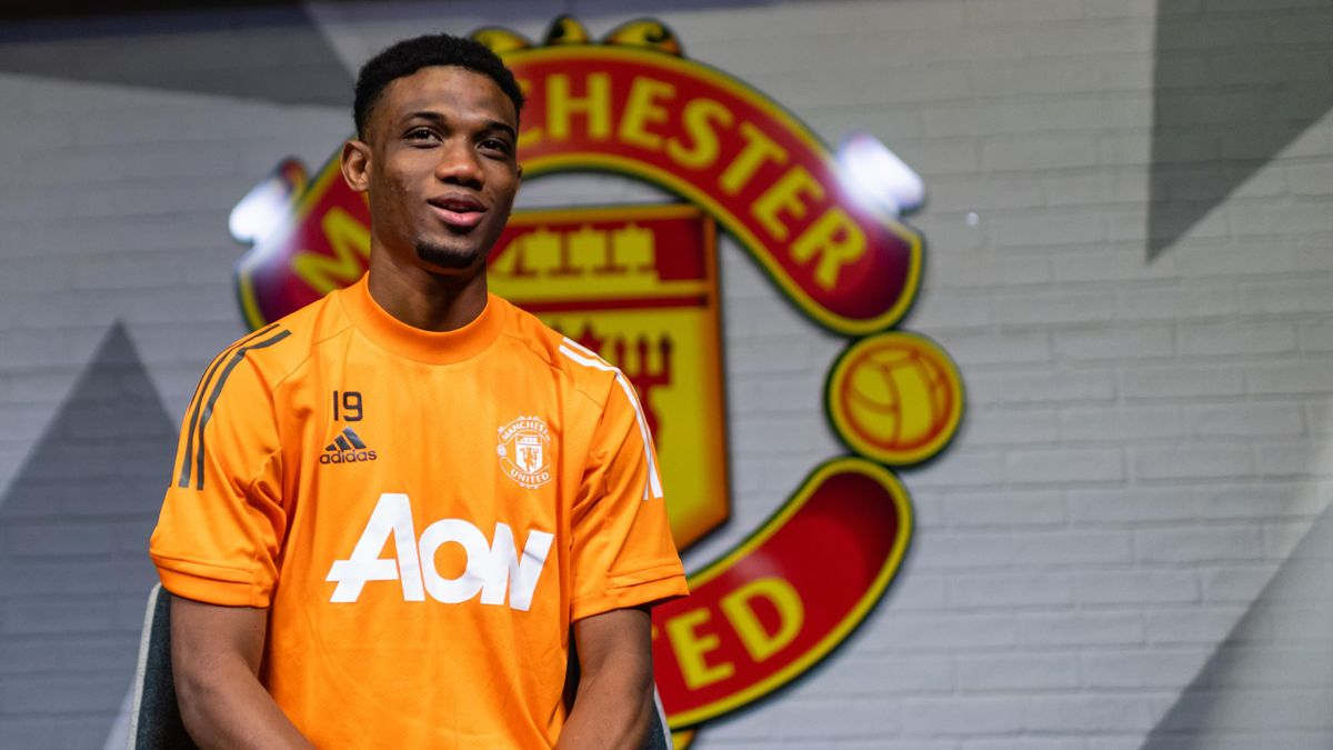 Amad Diallo of Manchester United is interviewed on his first day at Aon Training Complex in Manchester