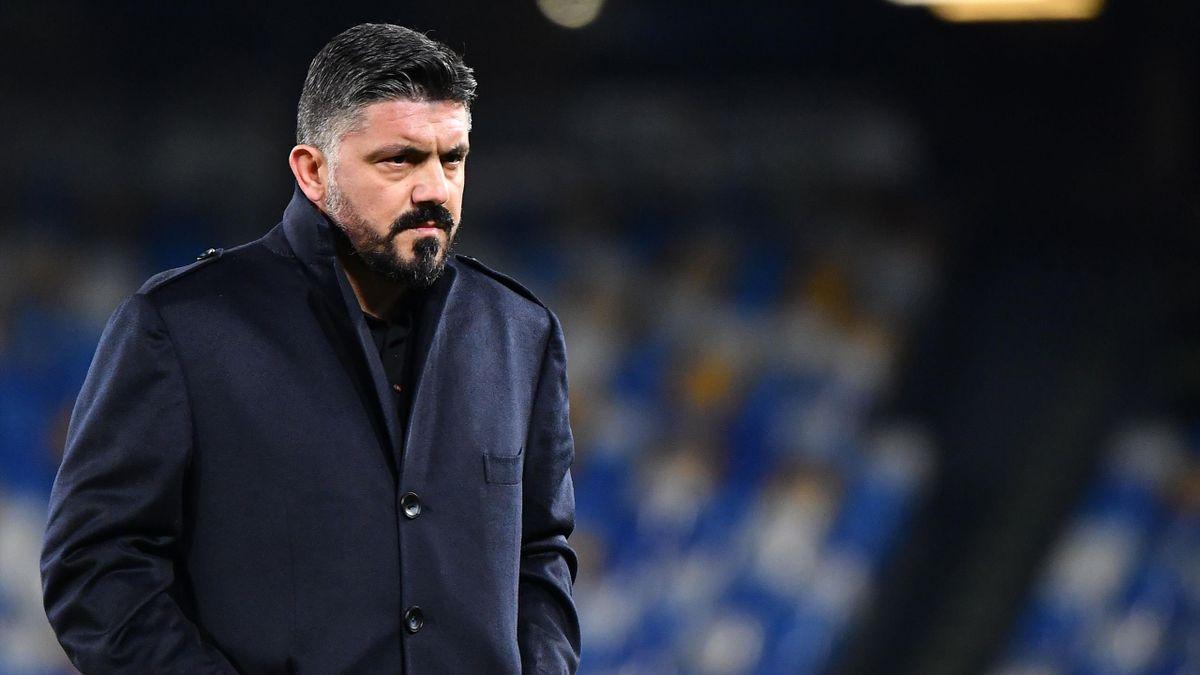 Gennaro Gattuso, allenatore del Napoli, in Napoli-Inter