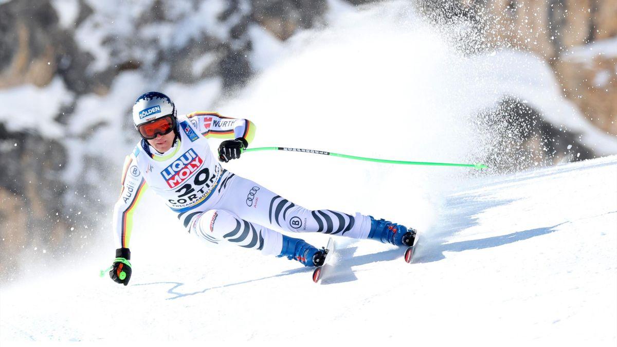 Thomas Dreßen beim ersten Abfahrtstraining in Cortina d'Ampezzo