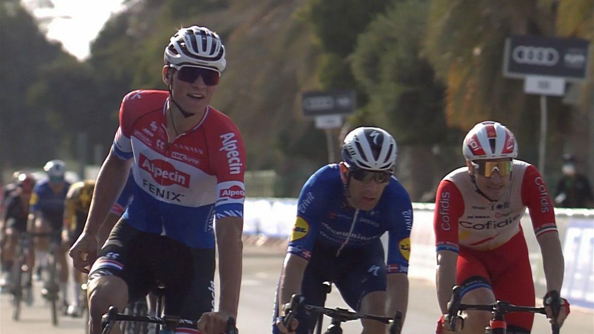 Wind causes chaos at UAE Tour as Van der Poel triumphs on Stage 1