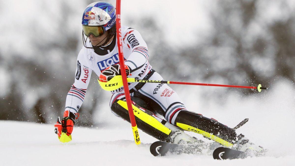 Alexis Pinturault durant le slalom de Chamonix