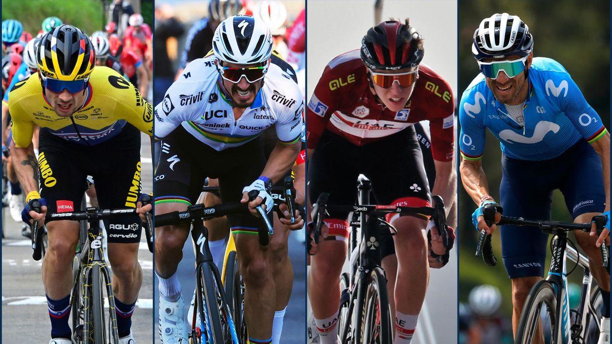 Primoz Roglic, Julian Alaphilippe, Tadej Pogacar, Alejandro Valverde