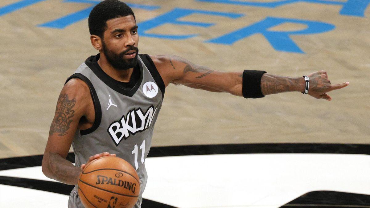 Kyrie Irving (Nets) face aux Washington Wizards au début de l'année 2021.
