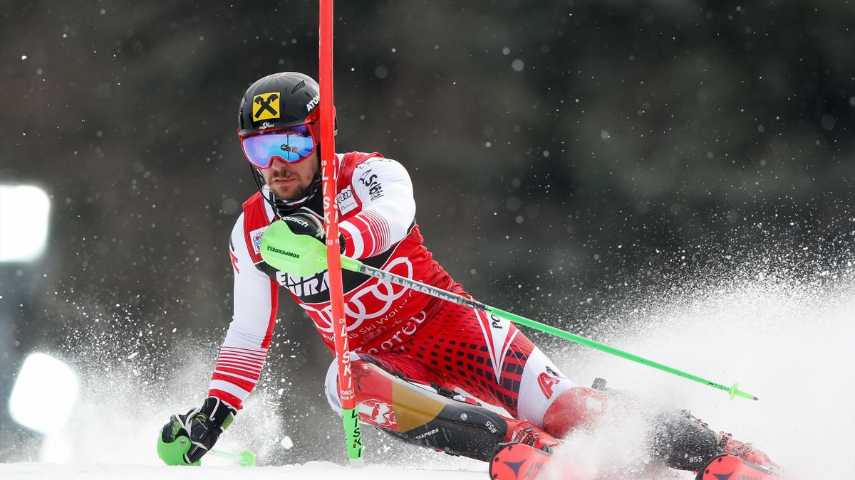 Marcel Hirscher of Austria competes during the Audi FIS Alpine Ski World Cup Men's Slalom on January 6, 2019 in Zagreb Croatia.