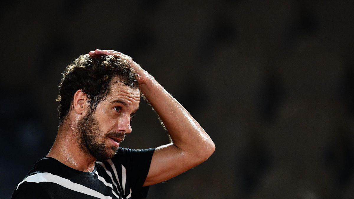 Richard Gasquet lors de sa défaite face à Roberto Bautista lors du 1er tour de Roland-Garros 2020