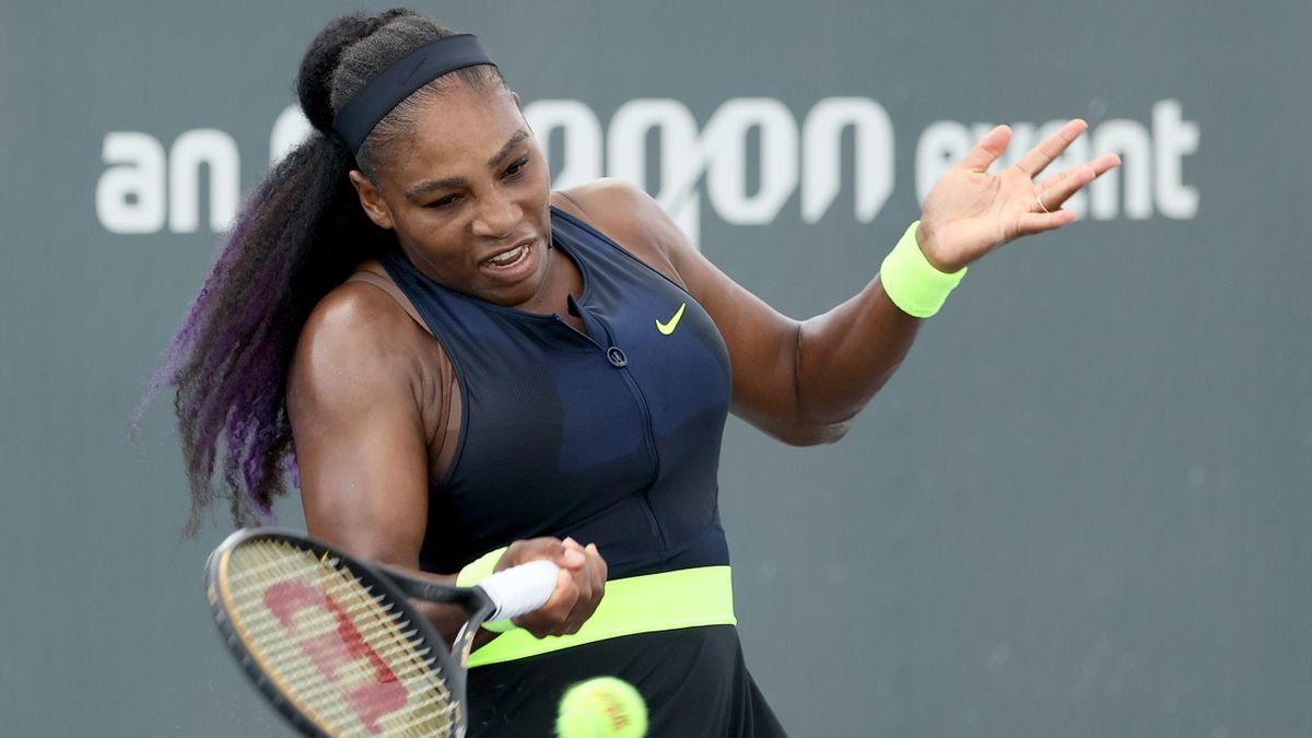 Serena Williams plays a forehand during her match against Venus Williams during Top Seed Open - Day 4 at the Top Seed Tennis Club on August 13, 2020 in Lexington, Kentucky.