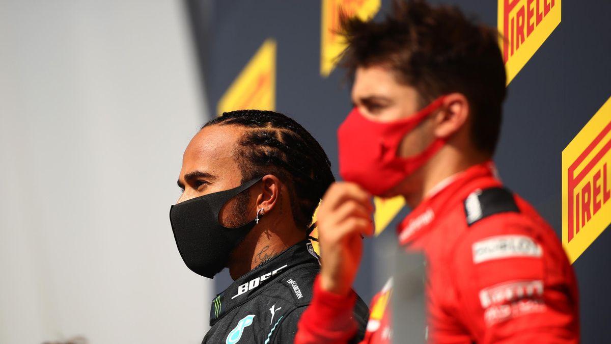 Lewis Hamilton e Charles Leclerc sul podio del GP di Gran Bretagna, F1 2020, Getty Images
