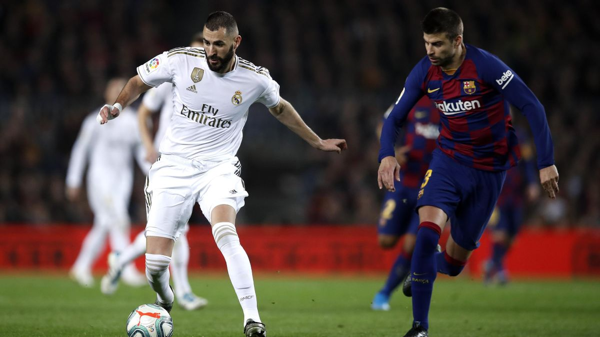 Piqué, Benzema - Barcellona-Real Madrid - Liga 2019/2020 - Getty Images