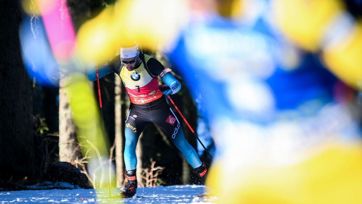 France's Martin Fourcade competes during the IBU Biathlon World Cup Men's 10km Sprint competition in Pokljuka, northwestern Slovenia, on December 7, 2018. (Photo by Jure Makovec / AFP) (Photo credit should read JURE MAKOVEC/AFP/Getty Images)