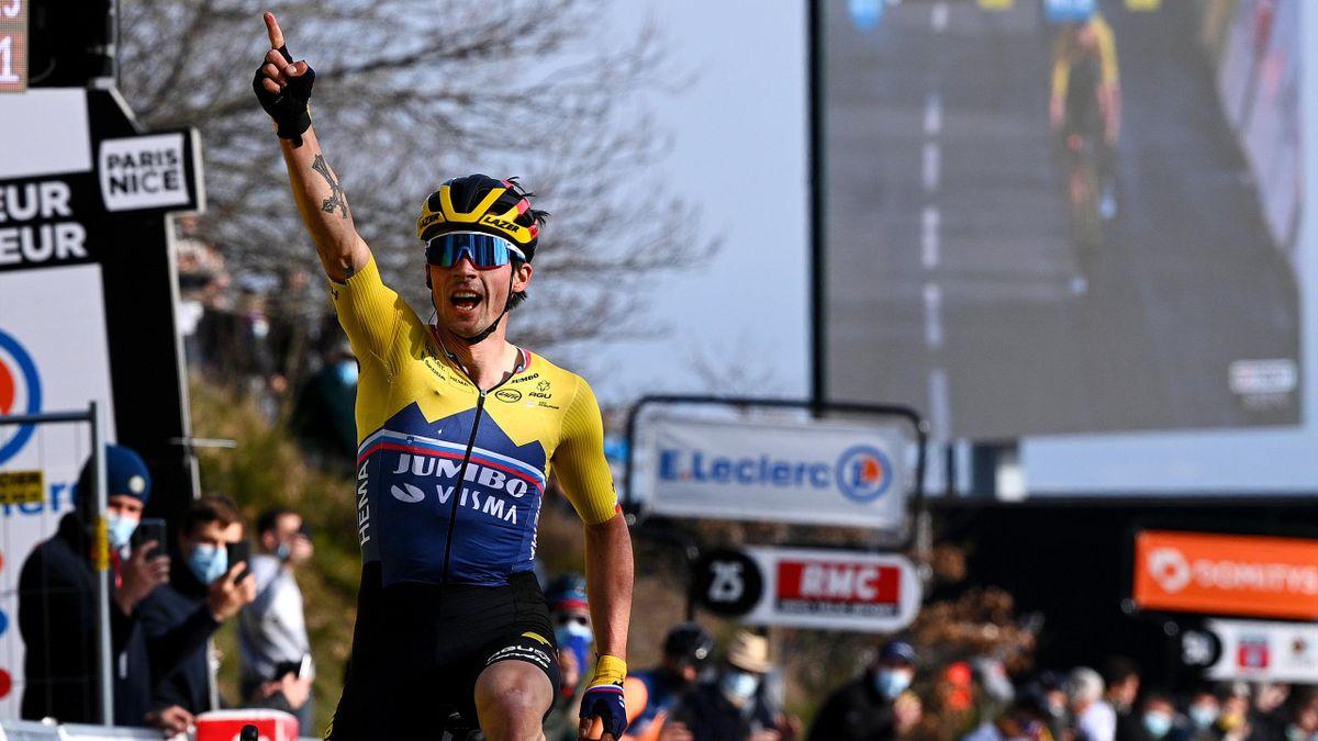 Primoz Roglic celebrates on Stage 4