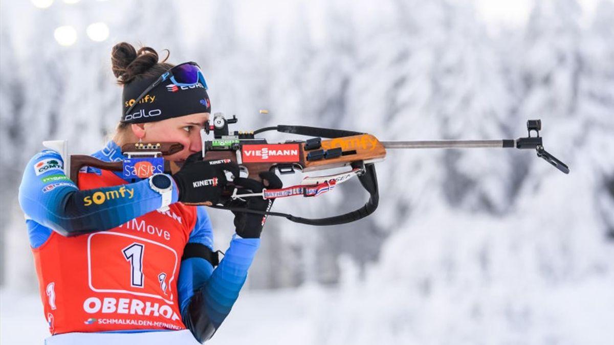 Julia Simon lors du relais mixte à Oberhof le 10 janvier 2021