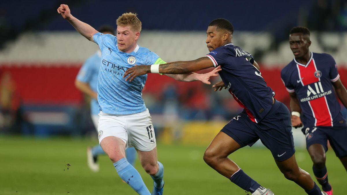 Kevin de Bruyne y Presnel Kimpembe, PSG – Manchester City
