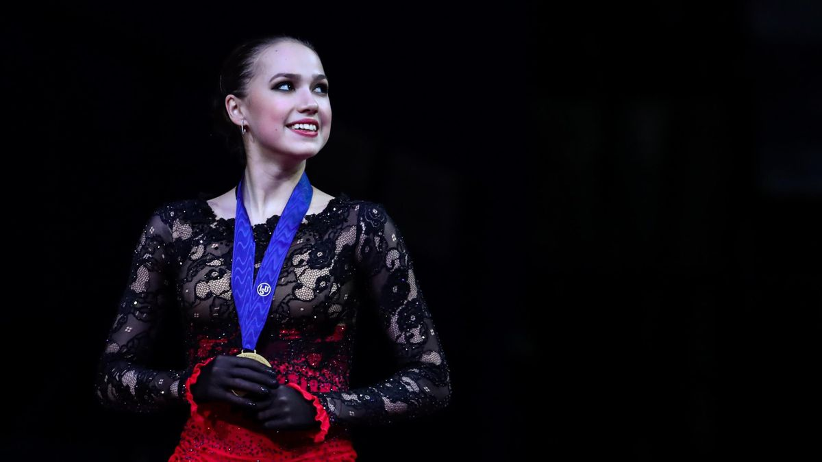 Figure skater Alina Zagitova of Russia poses with her gold medal