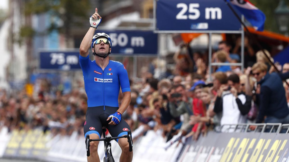 Elia Viviani of Italy / Celebration / during the 25th UEC Road European Championships 2019 - Elite Men's Road Race a 172,6km race from Alkmaar to Alkmaar