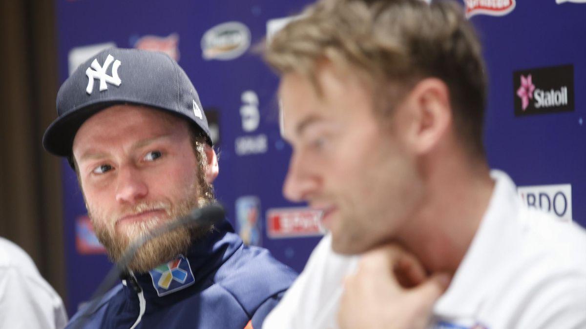 Pressekonferanse før World Cup på Lillehammer. Martin Johnsrud Sundby t.v sammen med Petter Northug på pressetreff