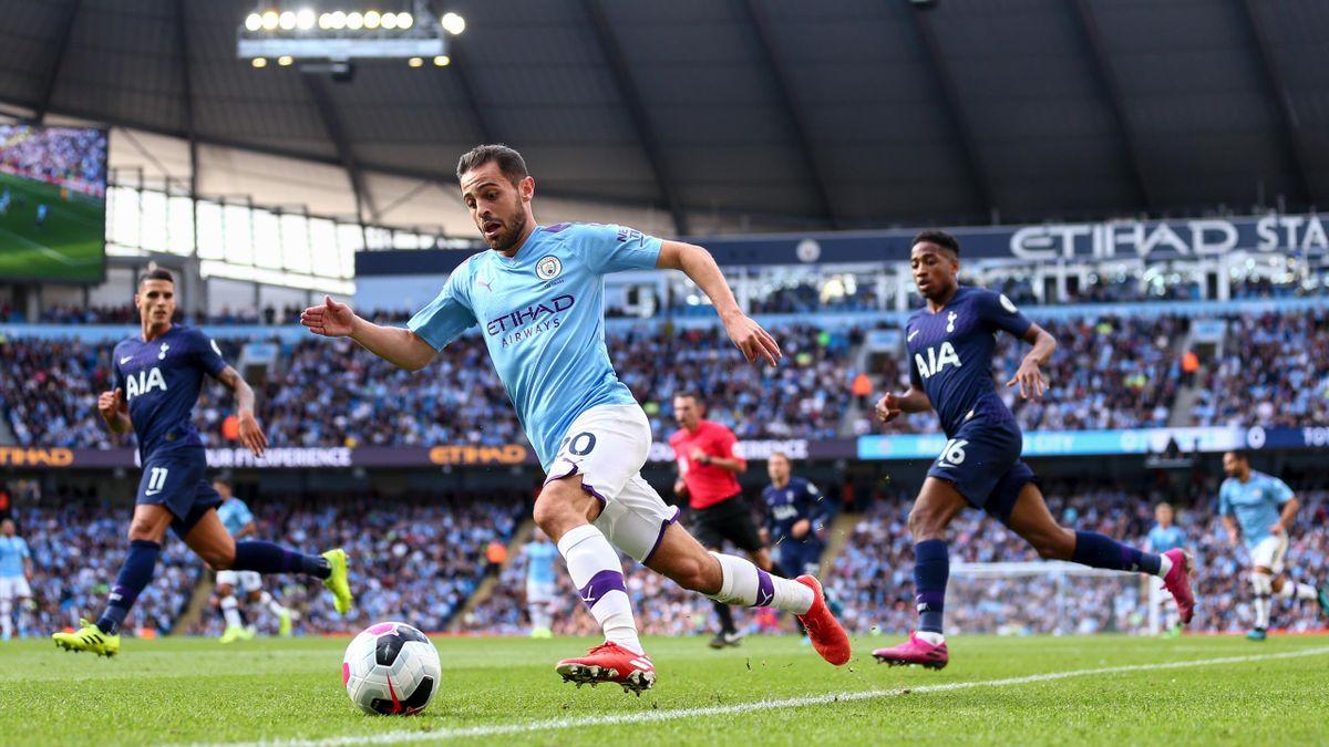 Bernardo Silva of Manchester City during the Premier League match between Manchester City and Tottenham Hotspur at Etihad Stadium