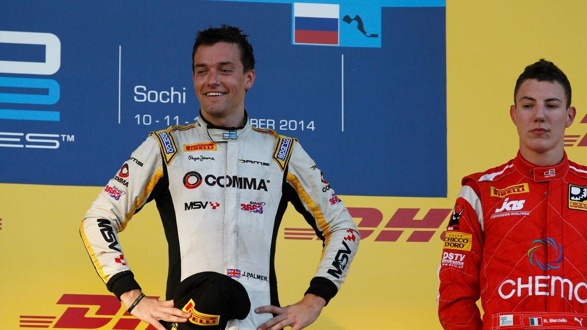Jolyon Palmer (DAMS) sacré champion de GP2 à Adler, en Russie, après la Course 1 2014