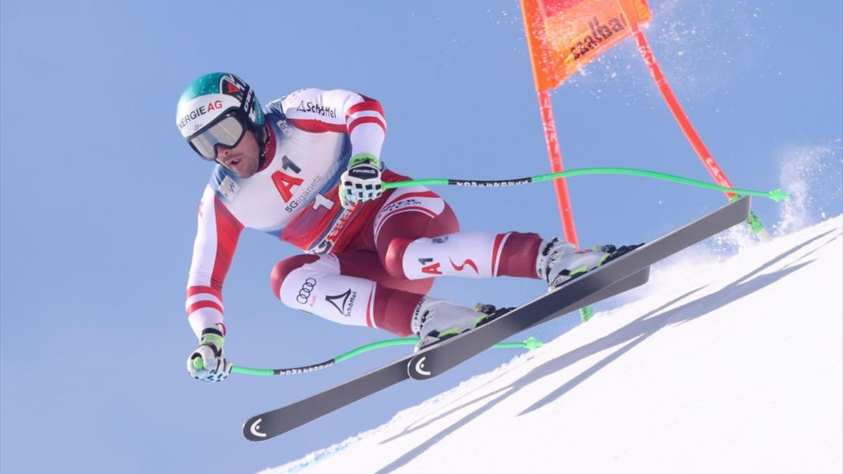 Austria's Vincent Kriechmayr competes during the men's downhill race during the FIS Ski Alpine World Cup in Saalbach-Hinterglemm, Austria, on March 6, 2021