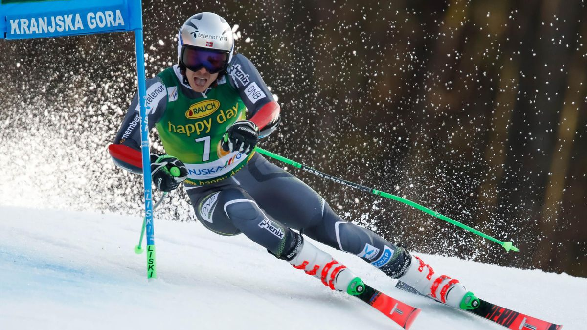 Henrik Kristoffersen of Norway competes during the Audi FIS Alpine Ski World Cup Men's Giant Slalom on March 9, 2019 in Kranjska Gora Slovenia.