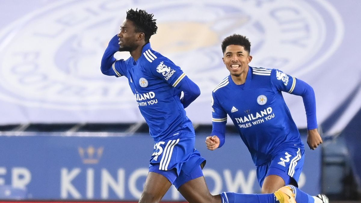 Wilfried Ndidi celebrates scoring for Leicester against Chelsea