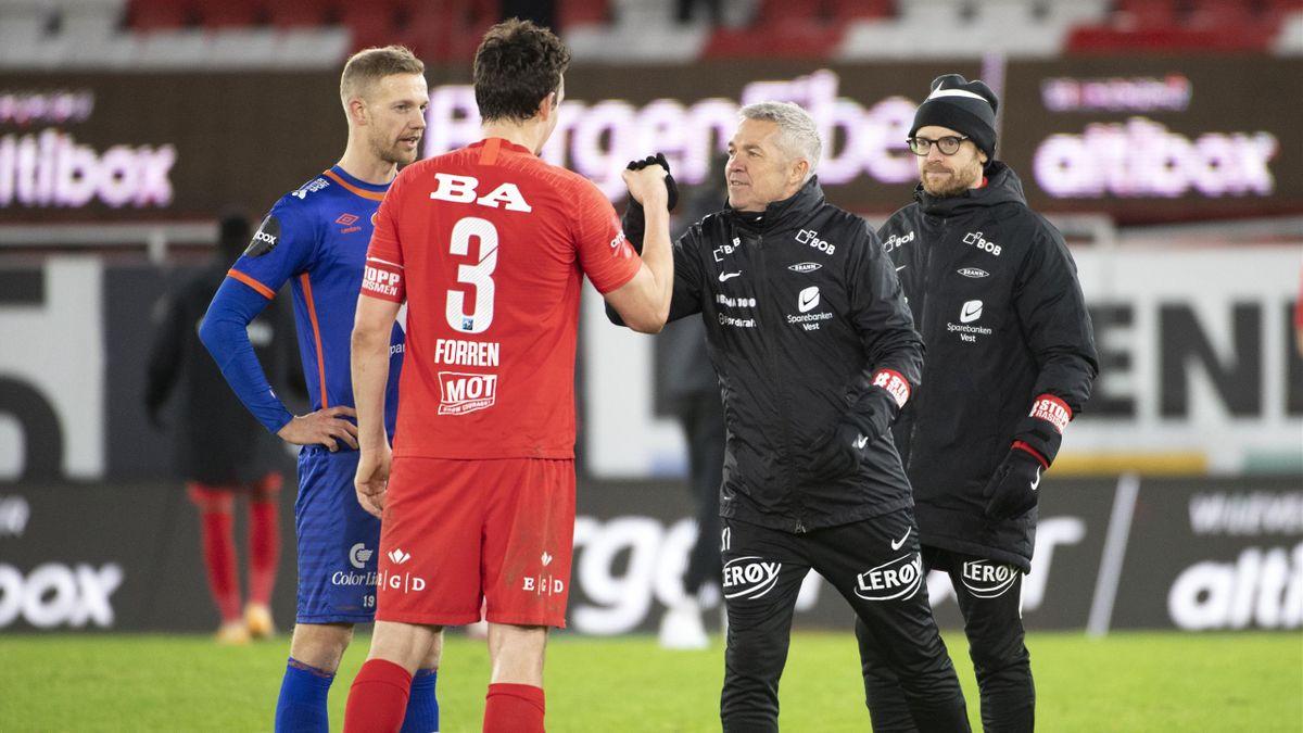 Vegard Forren og Brann-trener Kåre Ingebrigtsen