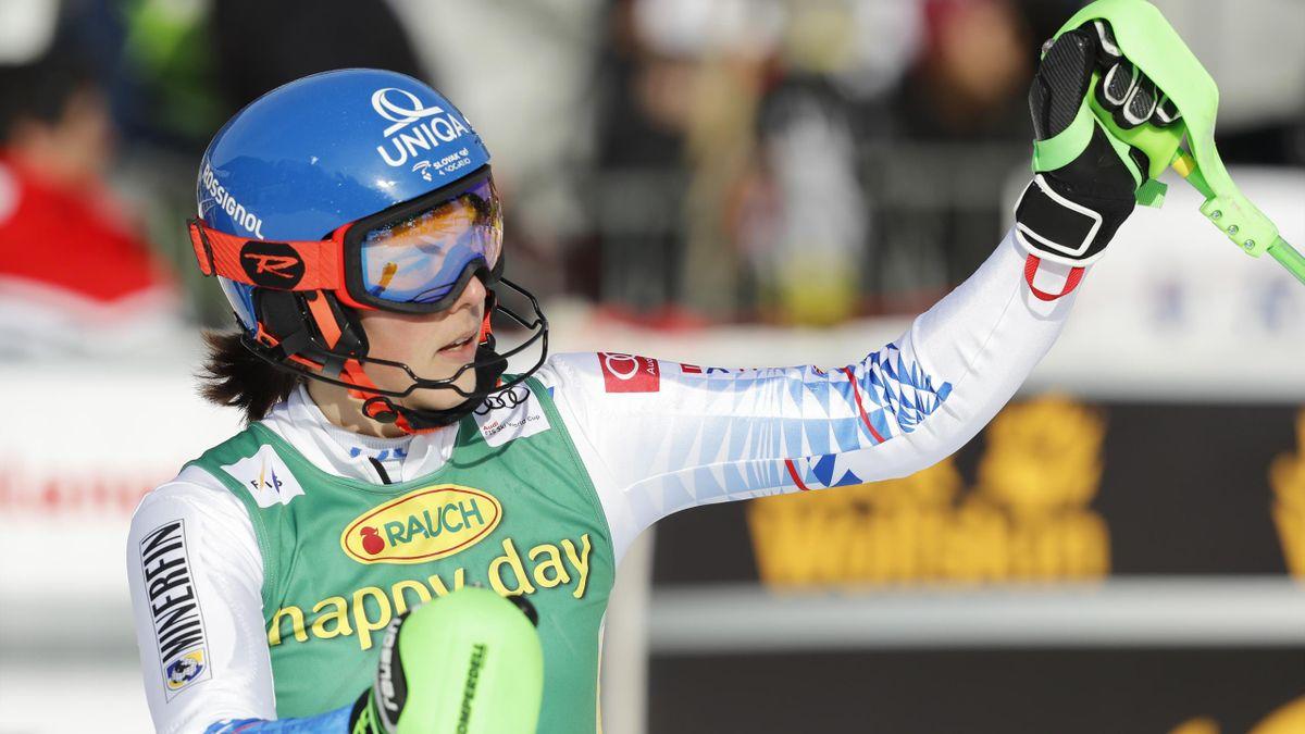 Petra Vlhova après sa victoire sur le slalom à Kranjska Gora le 16 février 2020