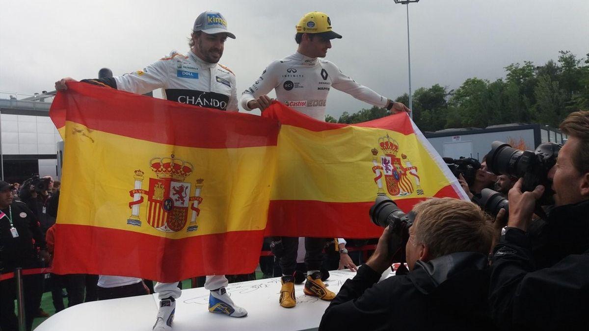 Fernando Alonso y Carlos Sainz en Montemeló