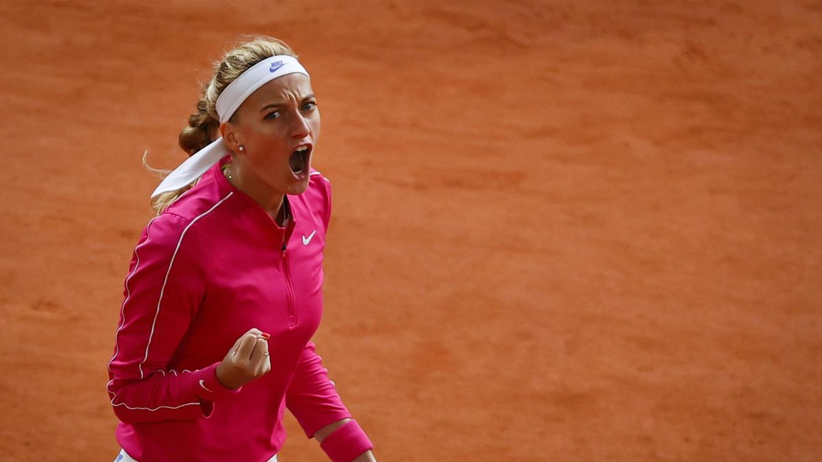 Czech Republic's Petra Kvitova celebrates after winning a point against China's Zhang Shuai during their women's singles fourth round tennis match on Day 9 of The Roland Garros 2020 French Open tennis tournament in Paris on October 5, 2020.
