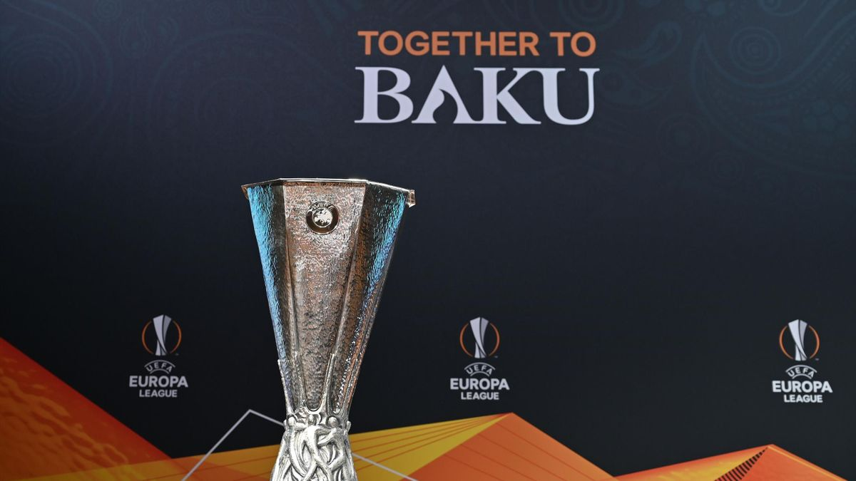 The Europa League trophy is displayed ahead of the competition's quarter-finals draw, on March 15, 2019 in Nyon