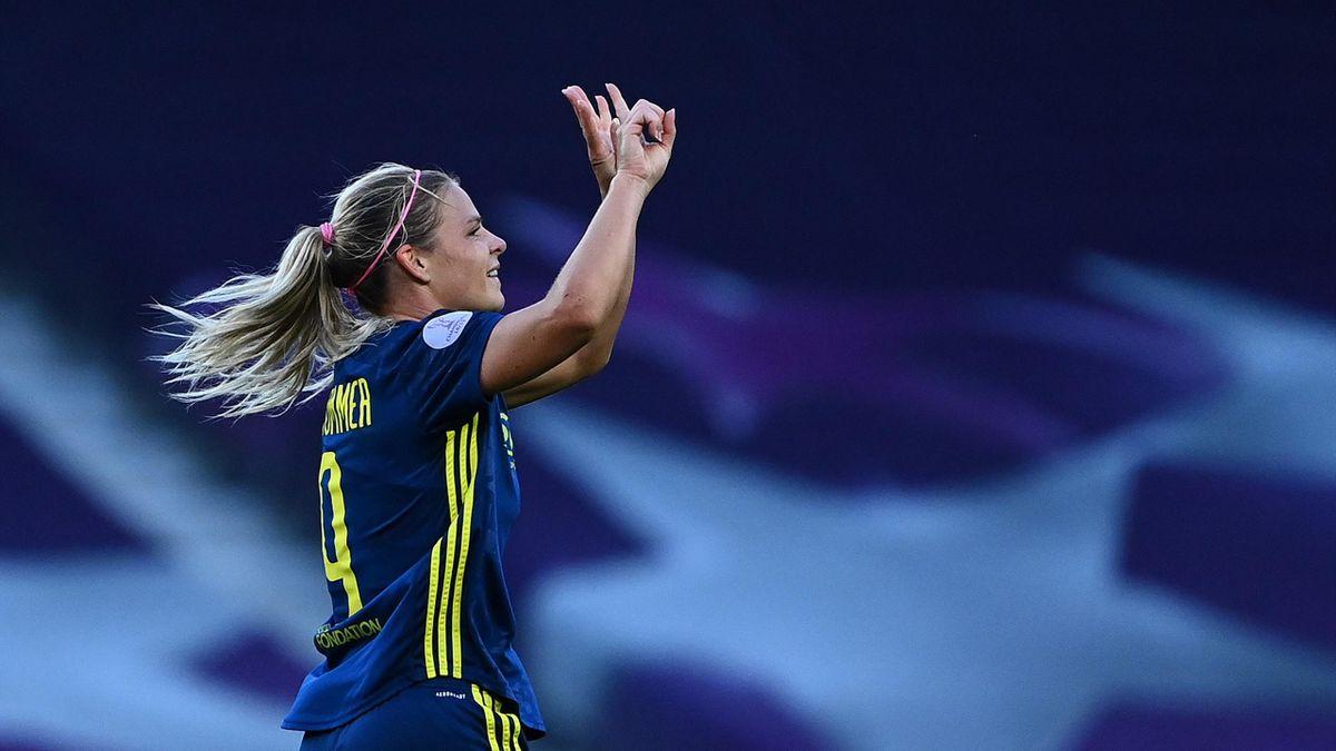 Eugénie Le Sommer célèbre son but lors de la finale entre Lyon et Wolfsburg / Ligue des champions féminines